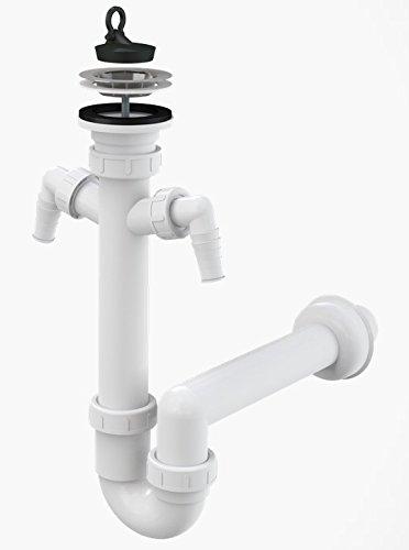 Spültisch Siphon Rostfreies Gitter DN 70 Anschlussrohr DN 50 Ablaufgarnitur mit zwei zusätzlichen Anschlüssen an Spülmaschine und Waschmaschine Ablauf Spülbecken Spüle Geruchsverschluss
