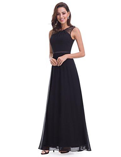 Ever Pretty Damen Elegant Ärmellos Perlen Lang Abendkleider Maxikleider 08742 Schwarz