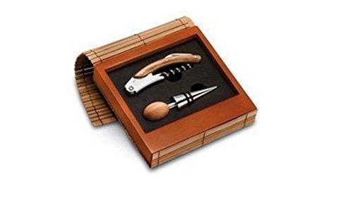 2-teiliges Weinset in Holzbox mit Bambusdekor. Bestehend aus Korkenzieher und