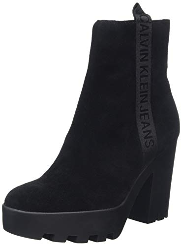 Calvin Klein Jeans Serina Suede, Botines para Mujer, Negro Black 000, 41 EU