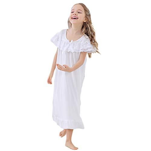 Gaga city Weiße Full Length Nachthemden für Mädchen Nachtwäsche aus 100% Baumwolle mit Stickerei (Vintage Mädchen Nachthemd)
