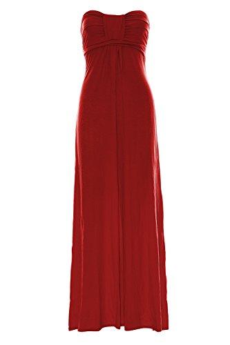 Pure Fashion Damen Maxikleid Ärmellos Mehrfarbig Red Long Maxi Top