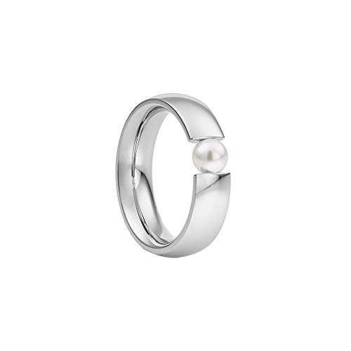Heideman Ring Damen Globus aus Edelstahl Silber farbend poliert Damenring für Frauen mit Swarovski Perle Weiss oder farbig 5mm rund als Spannring Weiss Gr.66 hr2006-3-11-66