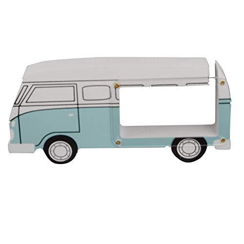 DierCosy Bus en Forma de Hucha de Madera Transparente Caja de Dinero Linda del diseño del Coche decoración del hogar para los niños Dormitorio Sala de Banco de Moneda 19.5 * 9 * 3cm Azul