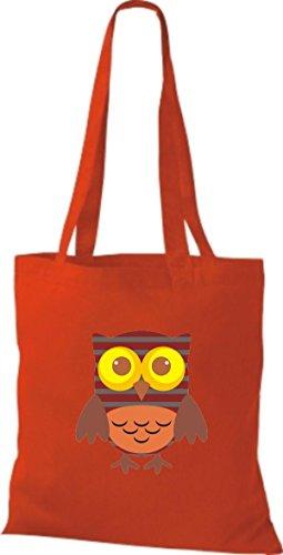 diverse Punkte Karos Bunte rot ShirtInStyle streifen mit niedliche Farbe Owl Retro Stoffbeutel Jute Eule Tragetasche aq08n07H