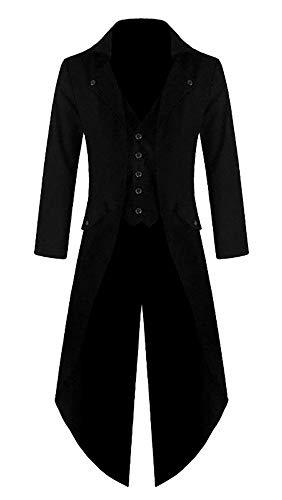 Mantel Kostüm Schwarzer - Shujin Herren Vintage Frack Steampunk Gothic Jacke Viktorianischen Langer Mantel Fasching Karneval Cosplay Kostüm Smoking Jacke Uniform (Schwarz, L)