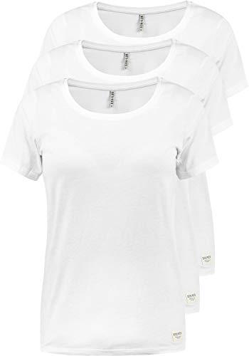 DESIRES OTTA Damen T-Shirt Kurzarm Shirt Mit Rundhalsausschnitt 3er Pack, Größe:XS, Farbe:White (0001) - T-shirt Frauen Weißes Pack