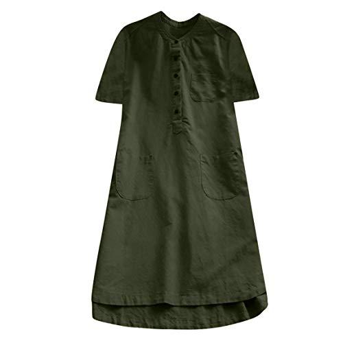Moonuy Summer Frauen mid-Calf Dress Damen Retro Kurzarm Casual Dress Sommer frühling lose Taste Tops Bluse Mini Hemd Dress - Box Cutter-taste