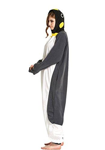 Honeystore Unisex Grau Pinguin Kostüm Erwachsene Tier Jumpsuits Onesie Pyjamas Nachthemd Nachtwäsche Cosplay Overall Hausanzug Fastnachtskostüm Karnevalskostüme Faschingskostüm Kapuzenkostüm Grau