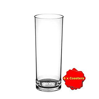 Avenue's Set of 6 Dishwasher Safe Unbreakable Reusable Polycarbonate Plastic Hiball glasses (320ml / 11 oz to rim). Ideal for Gin & Tonic, Pimms, Coke and ice etc. Great for outdoor use or general use around the home as a safer alternative to glass.