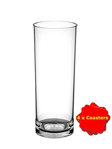 Avenue's Set of 6 Dishwasher Safe Unbreakable Reusable Polycarbonate Plastic Hiball glasses (320ml / 11 oz to rim)