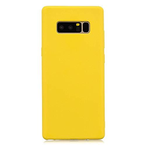 cuzz Custodia Samsung Galaxy Note 8+{Film di Vetro temperato}Silicone TPU Cover Morbida Protettiva Custodia Ultra Sottile Leggero Cover-Giallo
