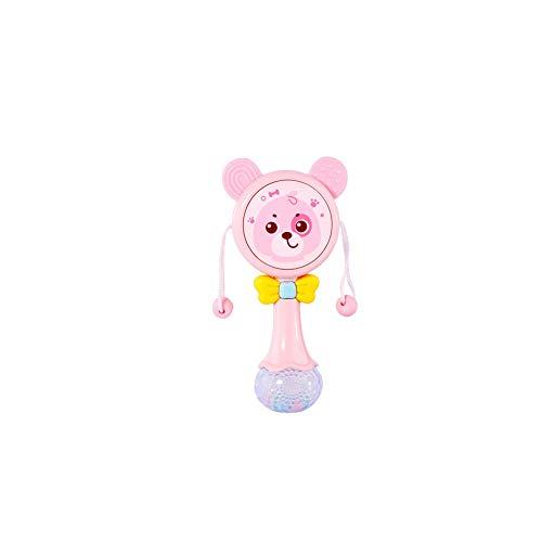 Maravilloso musical de dibujos animados bebé de juguete educativo inteligente Lollipop Rattle palillo de la música martillo de la arena Ritmo Molar rosa palo juguete