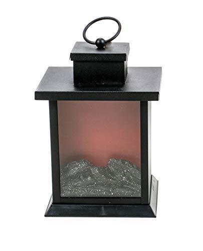 Deko Kamin Laterne mit flackernder Flamme, Flacker-Effekt durch 3 LEDs, batteriebetrieben, An/Aus-Schalter, Timer-Funktion automatische Abschaltung nach 6 Stunden