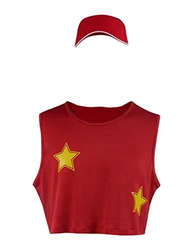 Kostüm Smash Bros - Jungen Super Smash Bros Cosplay Kostüme Ultimate T-Shirt, Hut (Kids-M, Rot)