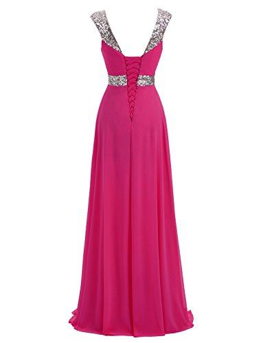 Erosebridal Formal Chiffon Lange Brautjungfernkleider Abendkleid Fuchsie
