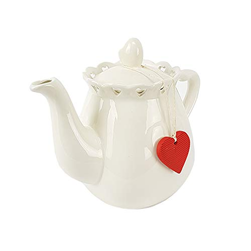 BUYSTAR Lovely teiera in Ceramica Bianca con Cuore, caffettiera caraffa per thè infusi Tea con zuccheriera Inclusa Servizio da thè