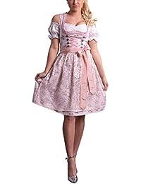 Golden Trachten-Kleid Dirndl Damen 3 TLG, Midi für Oktoberfest, mit Schürze und Bluse, 534GT