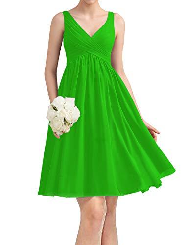 yinyyinhs Kurze Chiffon Brautjungfernkleider knielangen V-Ausschnitt Abend Abendkleider für Damen Größe 48 Smaragdgrün