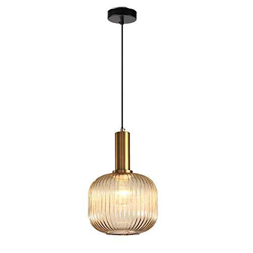 ZLJ Kronleuchter Moderne Industrielle Hängende Beleuchtung Vintage-Stil Kronleuchter Grünes Glas Anhänger Lampenschirm, Amber - Amber Glühlampe Kronleuchter
