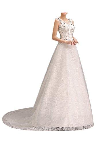 Gorgeous Bride Traumhaft Rundkragen A-Linie Satin Tüll Spitze Schleppe Lang Brautkleider Weiß Hochzeitskleider Style A