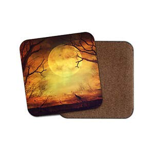 Worlddream Spooky Full Moon Forest Untersetzer - Halloween gruselige Nachtbäume, cooles Geschenk (Spooky Forest Halloween)