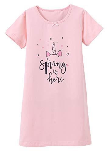 ABClothing Kleines Mädchen Einhorn Glänzendes Horn Schlafkleid Rosa 4 5 Jahre (Mädchen Nachthemd Und Puppe)