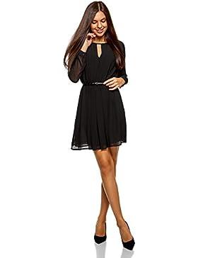oodji Collection Damen Kleid aus Fließendem Stoff mit Gürtel