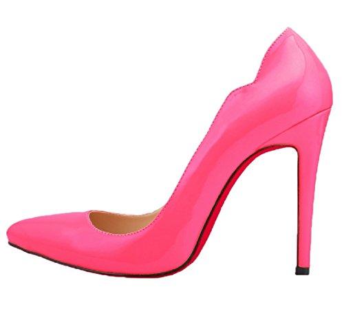 HooH Femmes Bonbons Couleur Rouge Semelle Mariage Pumps Rose Rouge