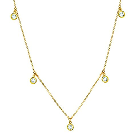 CRISLU Women's Gold Plated 925 Sterling Silver Round Clear Cubic Zirconia DBY Drop Necklace of Length 40.64-45.73cm