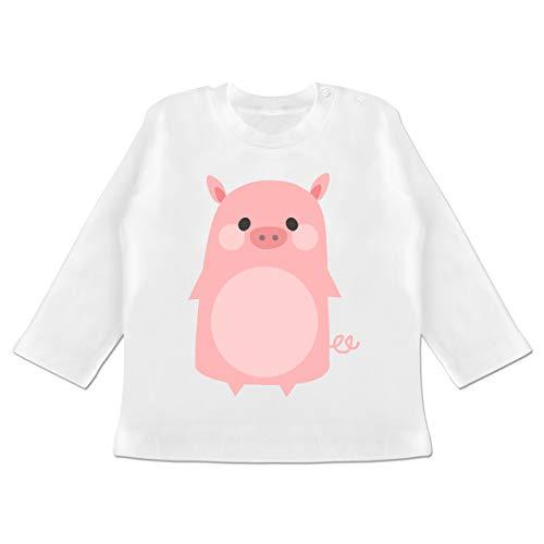 Karneval und Fasching Baby - Fasching Kostüm Schweinchen - 3-6 Monate - Weiß - BZ11 - Baby T-Shirt Langarm (Baby Schwein-kostüm-3-6 Monate)