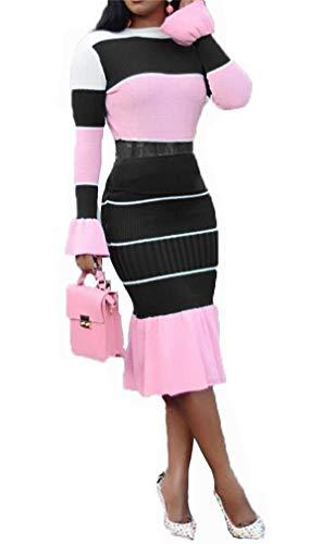 Frauen Bodycon Farbe Patchwork hohe Taille Langarm Swing Rock Midi Pencil Dress