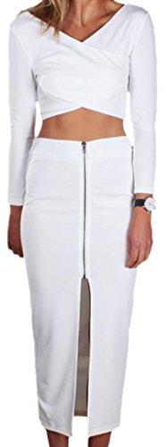 erdbeerloft - Damen Elegantes Etui Set aus Top und langem Rock mit Reißverschluss, 36, Weiß (Rock Ombre Set)