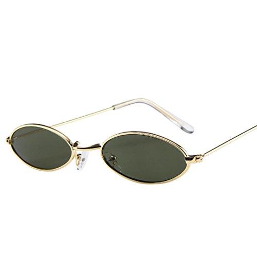 Zolimx uomini donne retrò piccolo ovale occhiali da sole in metallo cornice occhiali (f)
