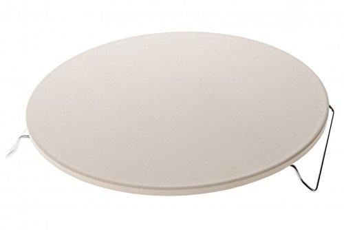 Mustang Pizzastein | Ø 32 cm | 1 cm starker Cordierit | Metallständer verchromt | Brotbackstein für Pizza und Flammkuchen