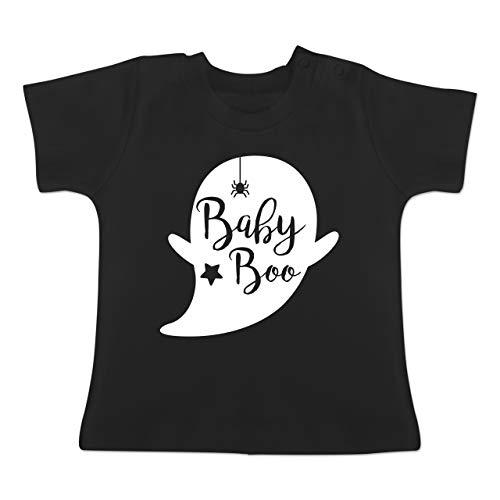 Anlässe Baby - Baby Boo Halloween Gespenst - 3-6 Monate - Schwarz - BZ02 - Baby T-Shirt Kurzarm