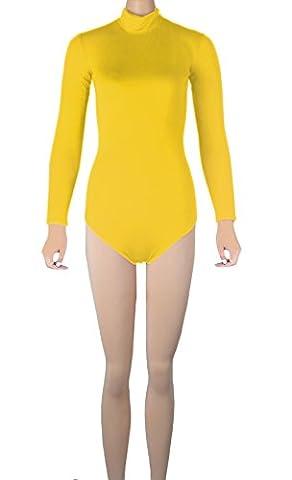 Howriis Unisex Lycra Long Sleeves Turtleneck Zip Back Thong Bodysuit (Large, Yellow)