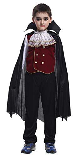 EMIN Elegante Vampirin - Vampir Kostüm Kinder Mädchen Halloween Vampir Kostüm Kind Mädchen Lady Prinzessin Kostüm Kleid Vampirkleid Dracula für Halloween Cosplay Fasching Verkleidung - Royal Vampir Mädchen Kostüm