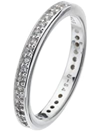 Virtue Silver Stackable VRS4013 Channel Set White Cubic Zirconia Band Ring