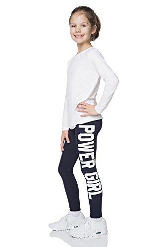 """hi!mom - Mädchen Leggings mit Schriftzug \""""Power Girl\"""" - lang - aus Baumwolle - 1-13 Jahre - CHPWG - Dunkelblau - 11-12 Jahre"""