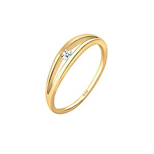 Diamore Damen Ring Verlobung Wellen Diamant (0.06ct) in 585 Gelbgold