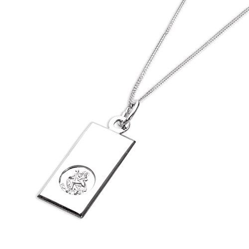 Collier et Pendentif Médaille de Saint-Christophe Rectangulaire en Argent 925/1000 - 56cm