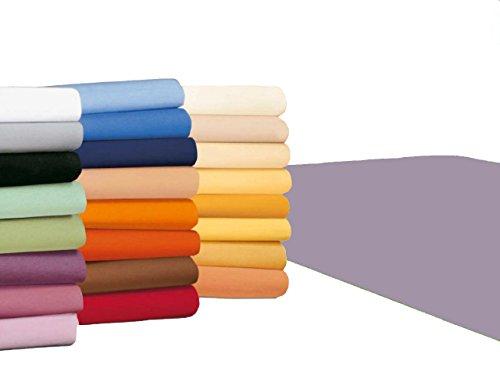 badtex24 Spannbettlaken 90 100 x 200 Spannbetttuch Bettlaken Jersey 100% Baumwolle 20 Farben Flieder 90x190-100x200cm