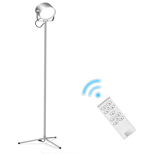 [Nuova versione] Buydalight F10 telecomando Super luminoso 700 Lumen Led luce LED interna di lampada da terra per soggiorno / camera da letto/lettura (dimmerabile, caldo 3000K - 6000K bianco) (argento) - Sensore Di Livello Laser