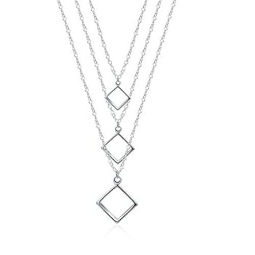 Anyeda Halskette für Paar Ihm/Ihr,Vergoldet Hypoallergen Öffnen Platz Silber Herren Damenmode Schmuck Größe 45Cm