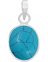PTM Sterling Silver Pendant Natural Turquoise (Firoza) With Black Lines 3.25 Ratti Or 2.96 Carat With Certificate...