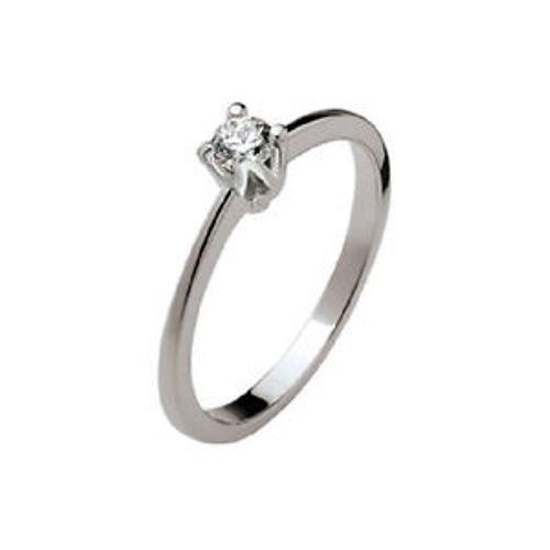 POLELLO Anello Solitario Oro Bianco 18 Kt e Diamanti Ref. E2869 (Oro Bianco, 18)