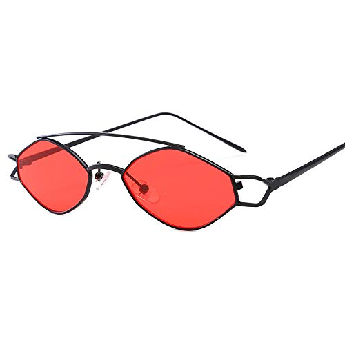 Yangjing-hl Ellipsentrainer Europa und die Vereinigten Staaten Trend Metal Small Frame Sonnenbrillen Wind Männer und Frauen Persönlichkeit Sonnenbrillen Schwarz/Rot