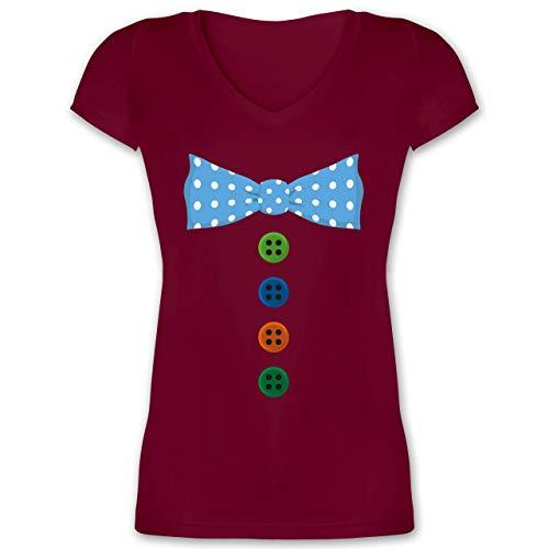 (Karneval & Fasching - Clown Kostüm Blaue Fliege - XL - Bordeauxrot - XO1525 - Damen T-Shirt mit V-Ausschnitt)