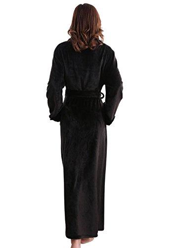 Damen Luxury Mikrofaser Bademantel, Morgenmantel weich und super flauschig, Coral Fleece Saunamantel lang Schwarz